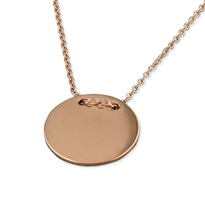Sterling Silver Rose Gold Finish Thread Through Disc Necklace