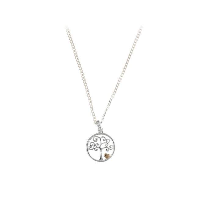 Sterling Silver Rose Gold Finish Tree With Heart Pendant and Chain