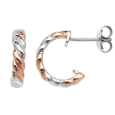 Sterling Silver Rose Gold Finish Twisted Half Hoop Earrings