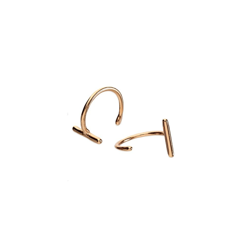 dc71dc5239468 Sterling Silver Rose Gold Plated Bar Pull Through Hoop Earrings