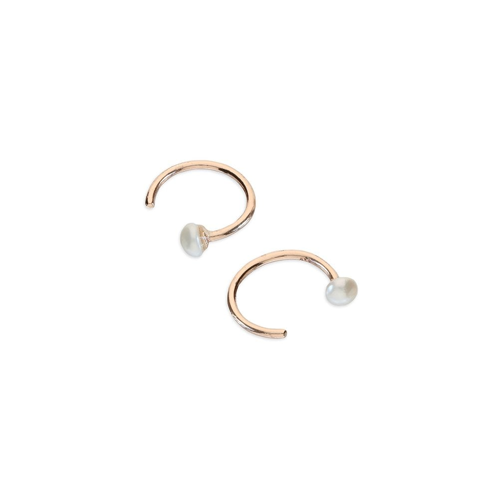 ed545a0e6b45a Sterling Silver Rose Gold Plated Pearl Pull Through Tiny Hoop Earrings