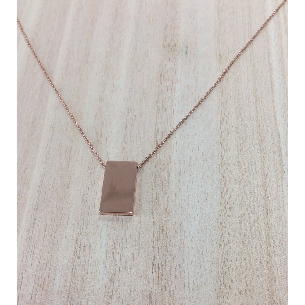 ddbcbb6d689a6 Sterling Silver Rose Gold Plated Rectangle Necklace