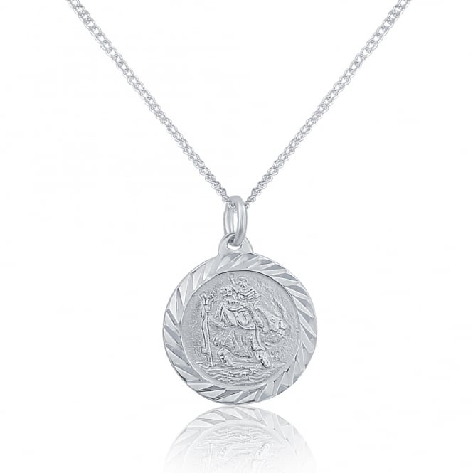 Sterling Silver Round St Christopher And Chain