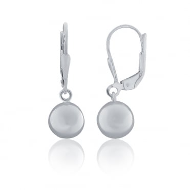 Sterling Silver Silver Lever Back Polished Ball Drop Earrings