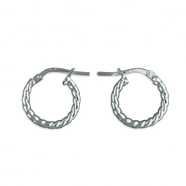 Sterling Silver Small Twisted Hoop Earring 14mm