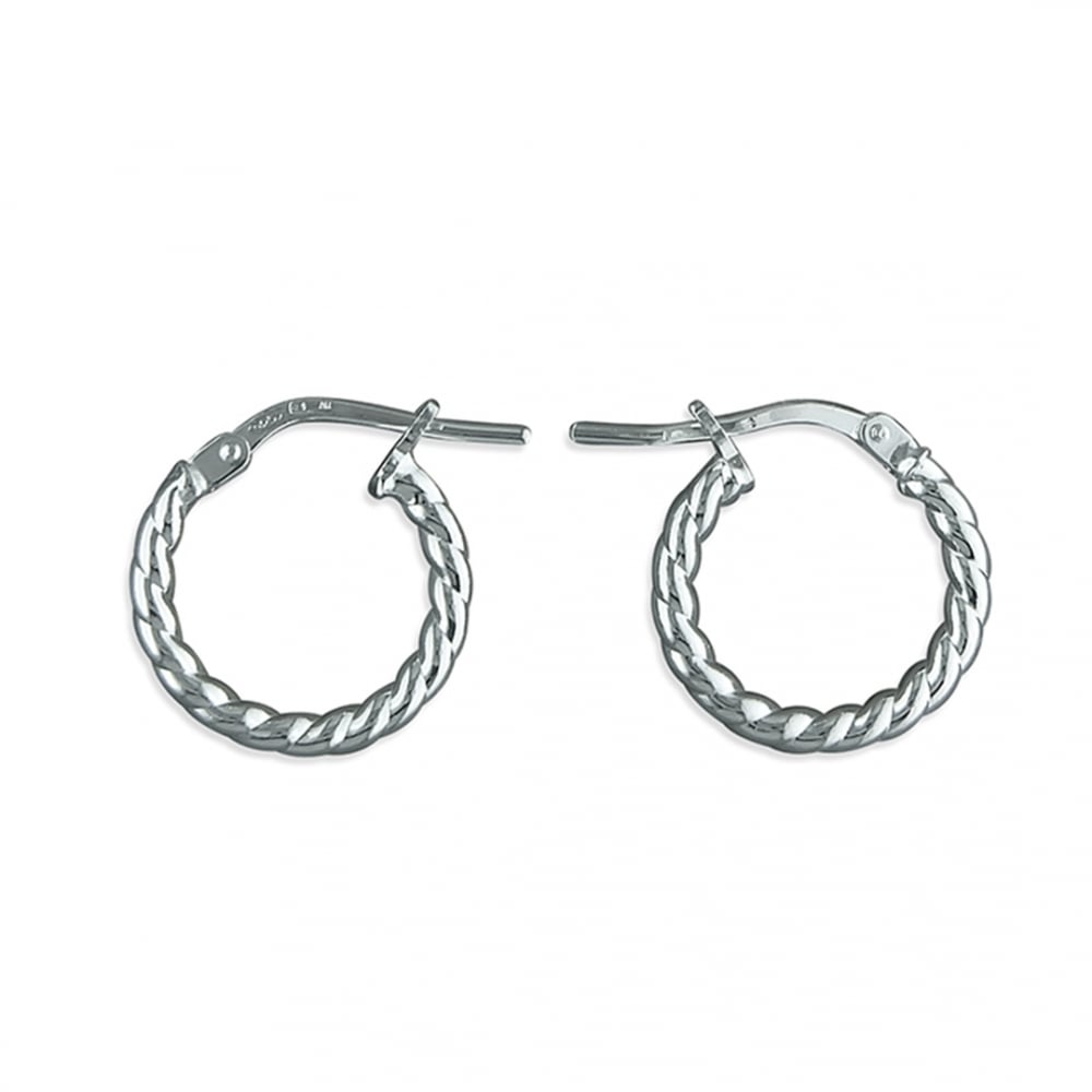 Sterling Silver Small Twisted Hoop Earring 14mm - All Jewellery ...