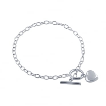 Sterling Silver T-Bar Bracelet With Puffed Heart Charm