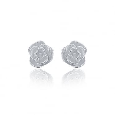 Sterling Silver Tiny Rose Stud Earrings