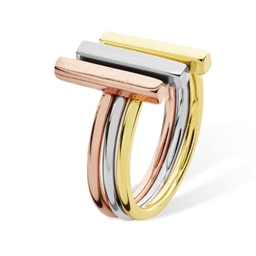 Sterling Silver Yellow and Rose Finish Linear Stack Trio Ring