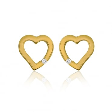 Sterling Silver Yellow Gold Finish Cubic Zirconia Cut Out Heart Stud Earrings