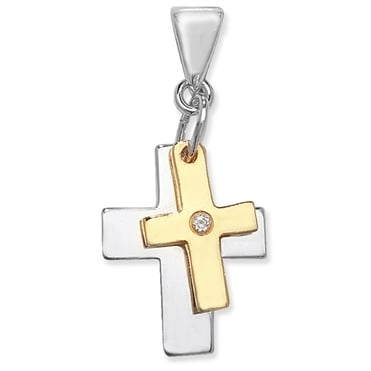 Sterling Silver Yellow Gold Finish Cubic Zirconia Double Cross Pendant and Chain