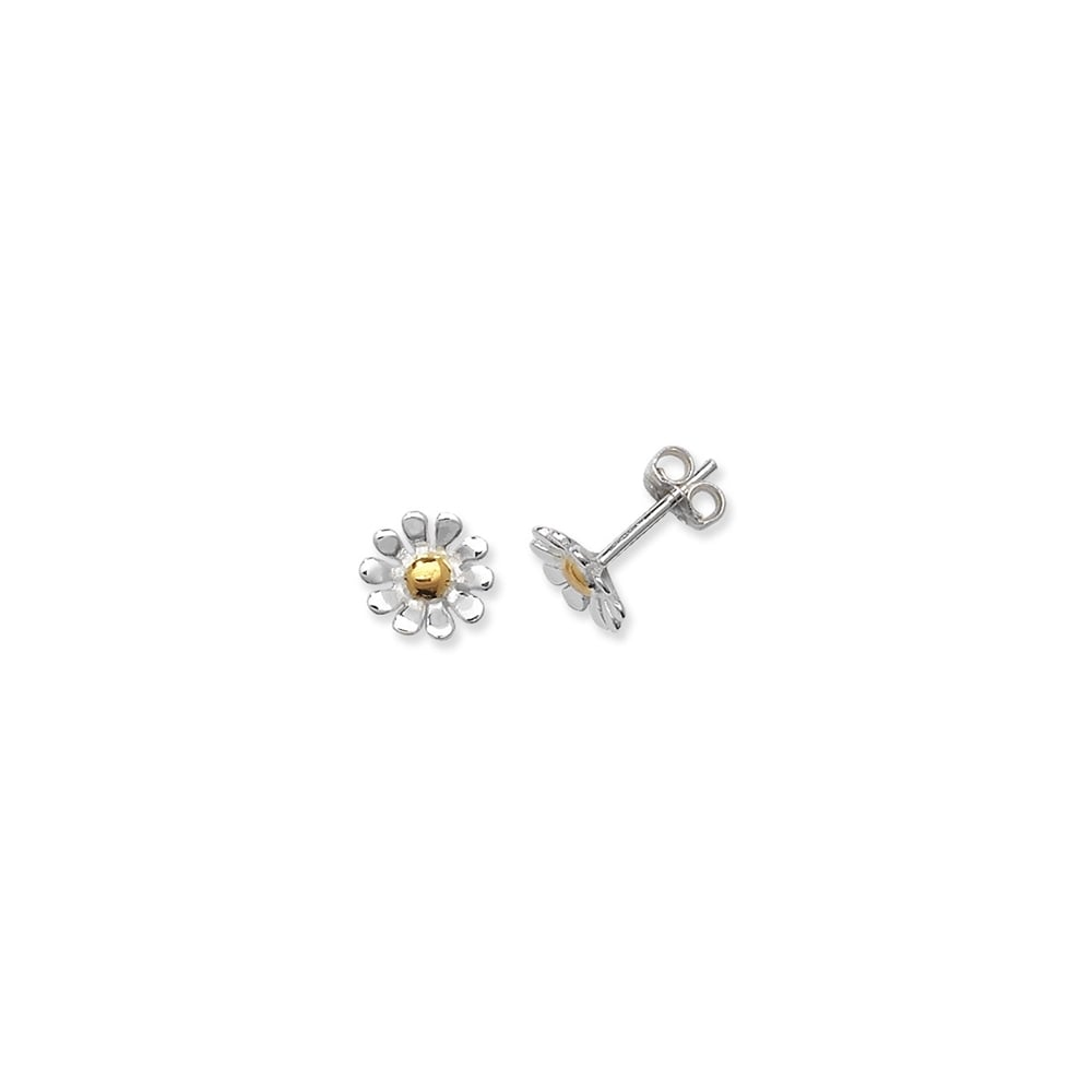 05c093d1e Sterling Silver Yellow Gold Finish Daisy Stud Earrings - Earrings ...
