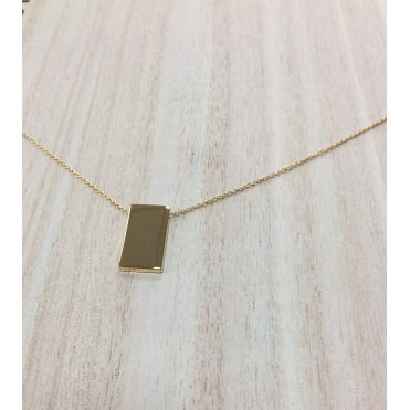 Sterling Silver Yellow Gold Finish Rectangle Necklace