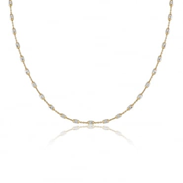 Sterling Silver Yellow Gold Finish Sparkling Stations Necklace 22