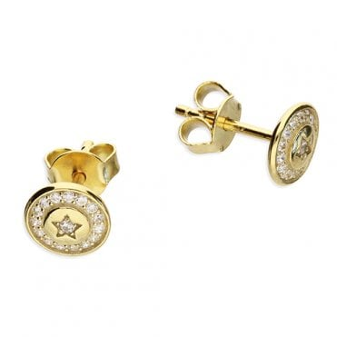 9e9af930b Sterling Silver Yellow Gold Plated Cubic Zirconia Halo Disc Star Stud  Earrings