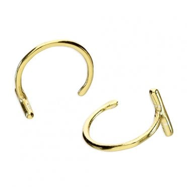 86e781c57 Sterling Silver Yellow Gold Plated Small Pull Through Bar Hoop Earring