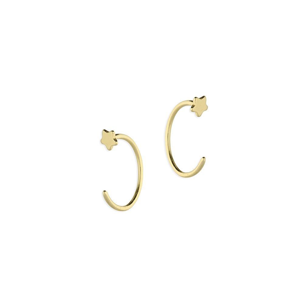 6aea6a3c091e1 Sterling Silver Yellow Gold Plated Star Tiny Pull Through Hoop Earrings