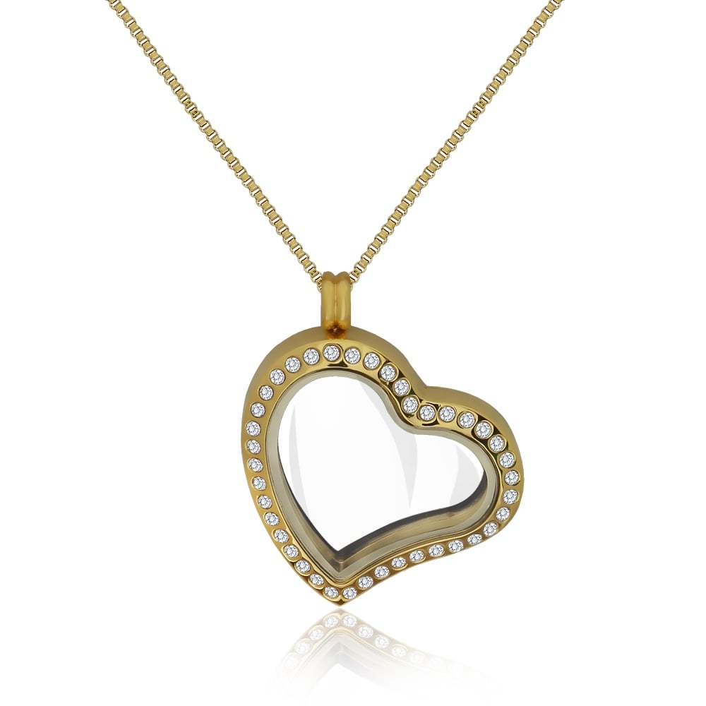 diamond hj heart pendants chain itm lockets gold shape locket with